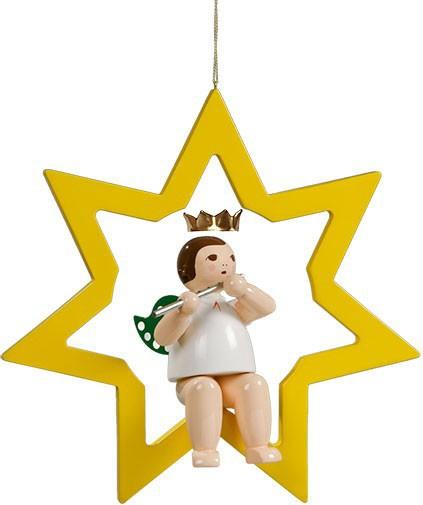 großer Engel im Stern mit Querflöte - hängend, mit Krone