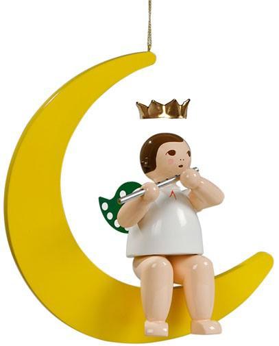großer Engel auf Mond mit Querflöte - hängend, mit Krone