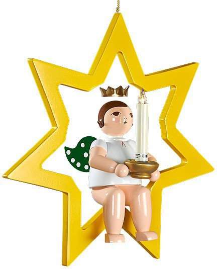großer Engel im Stern mit Tülle für Kerze oder Lumix-LED - hängend, mit Krone