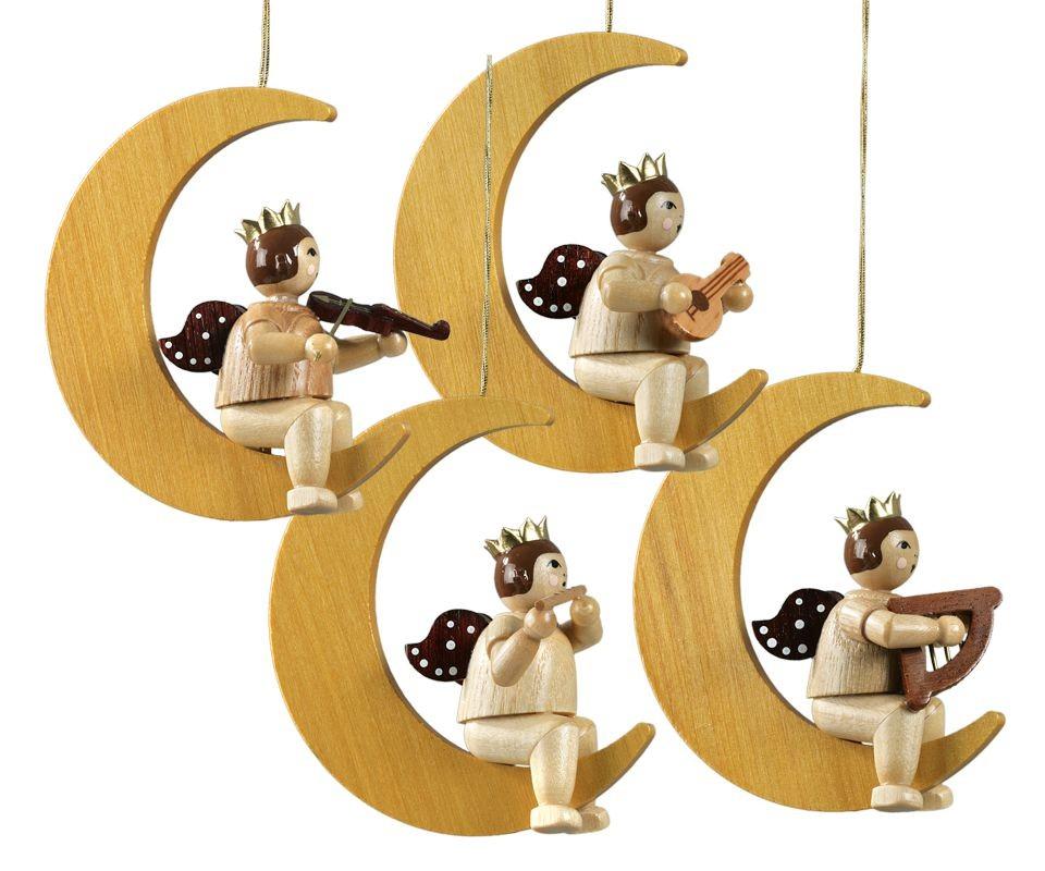 4 Engel auf Mond natur mit-Krone