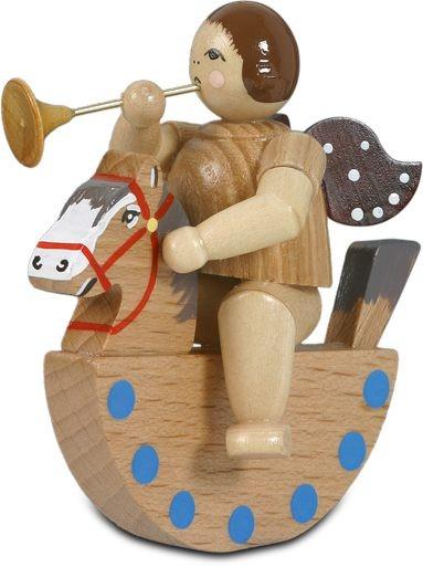 Engel auf Schaukelpferd mit Trompete / natur ohne-Krone