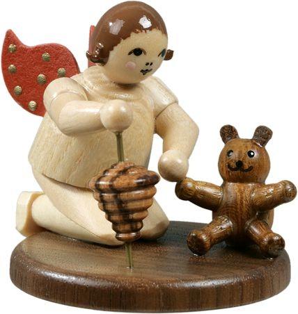 Engel kniend mit Teddy und Kreisel / natur ohne-Krone