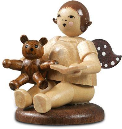 Engel sitzend mit Teddybär / natur ohne-Krone