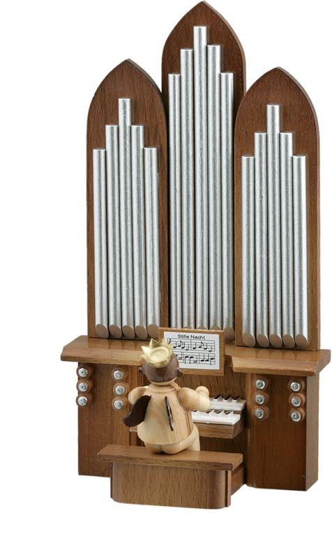 Engel mit Orgel Natur (ohne Spielwerk) mit-Krone
