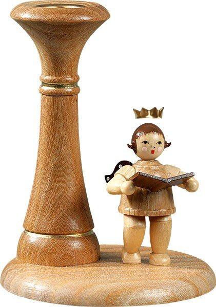 Kerzenhalter - Engelmusikant stehend natur mit-Krone