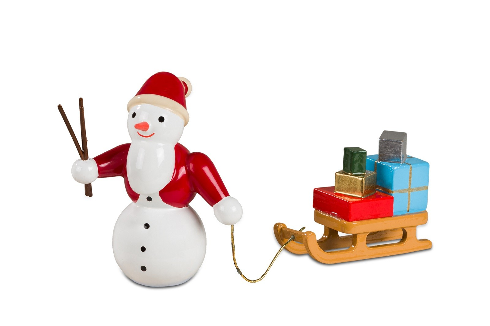 Schneemann - Weihnachtsmann mit Schlitten