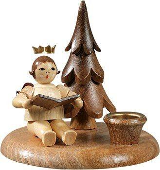 Kerzenhalter mit Bäumchen - Engelmusikant sitzend / natur mit-Krone