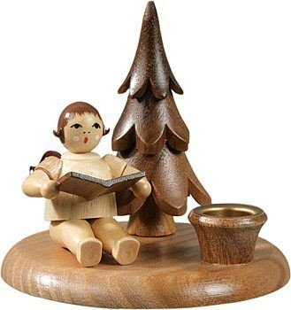 Kerzenhalter mit Bäumchen - Engelmusikant sitzend / natur ohne-Krone