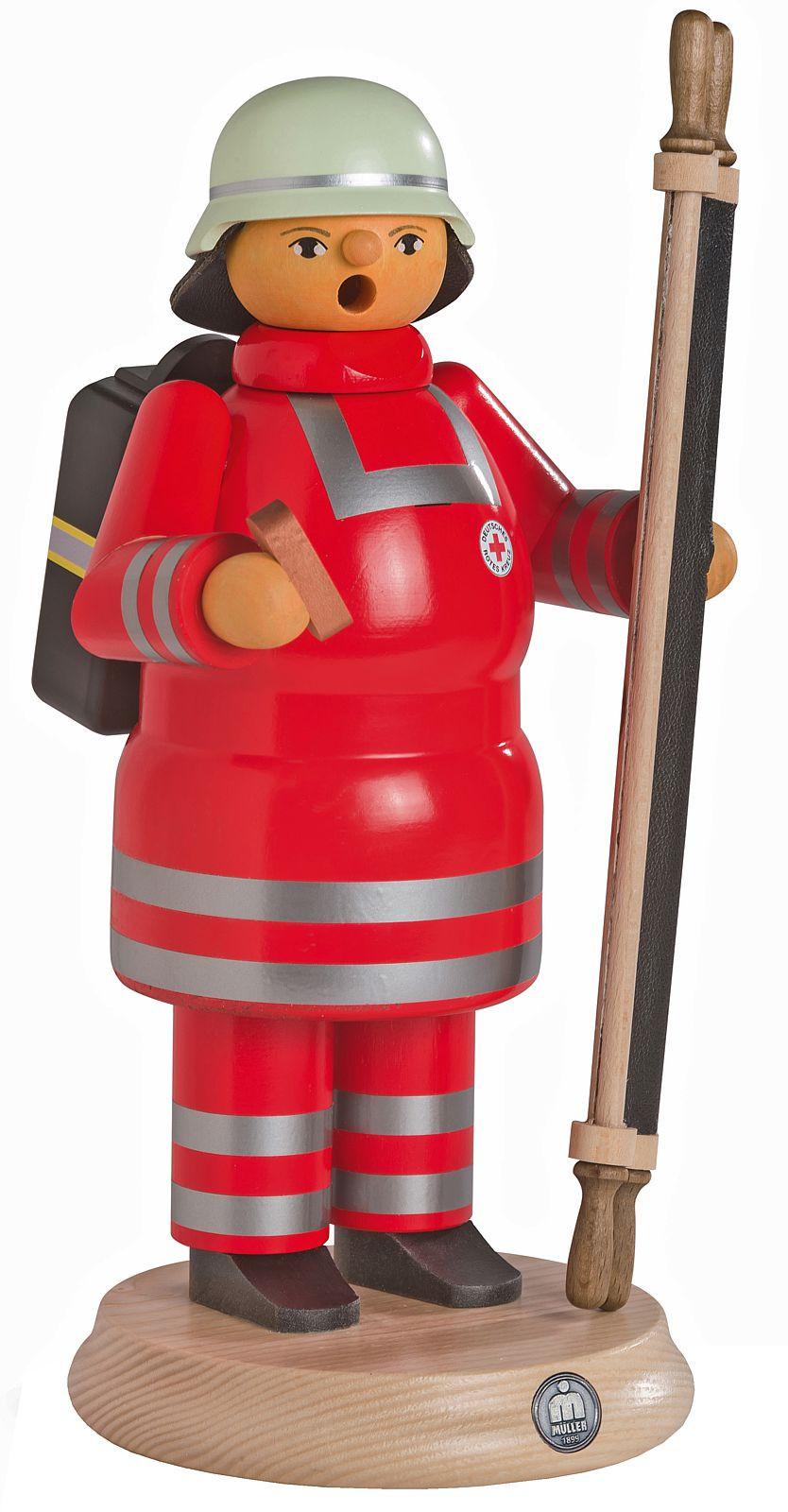 Räuchermann Rotkreuz Sanitäter mit Trage, groß