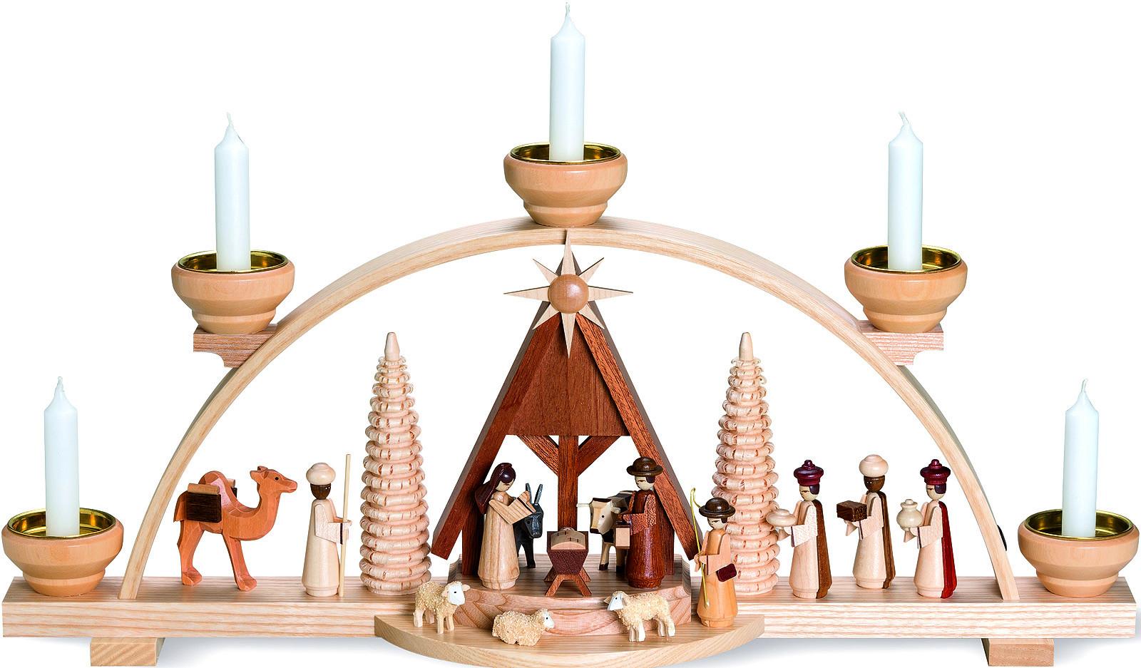 Schwibbogen Christi Geburt mit Krippe, natur