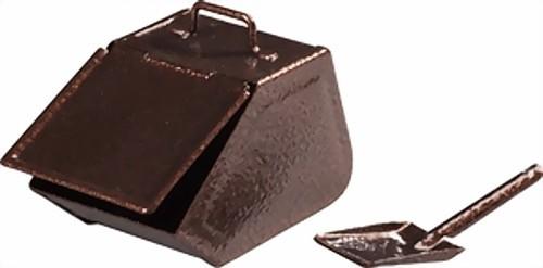 Huss Kohlekasten mit Schaufel, kupferfarbig