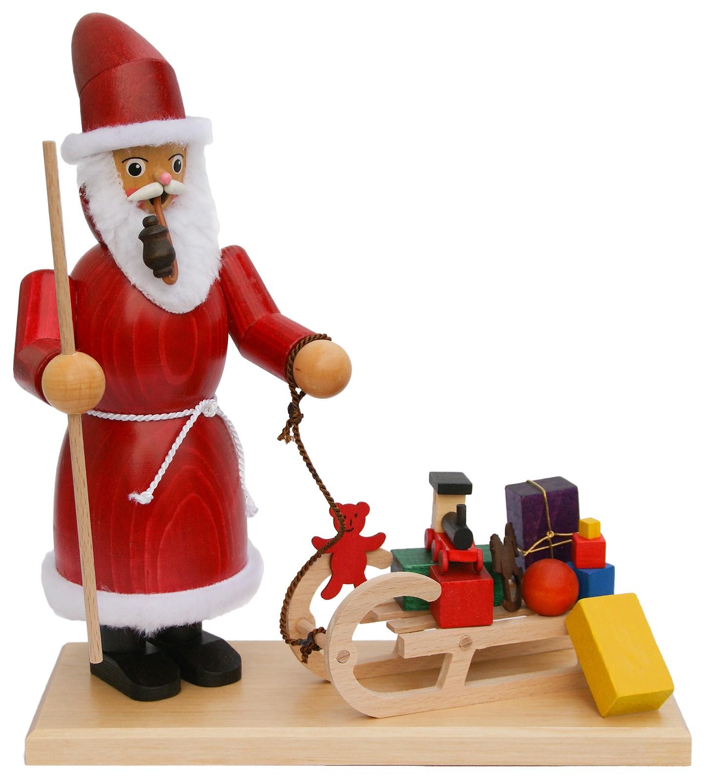 Räuchermännchen Weihnachtsmann mit Schlitten