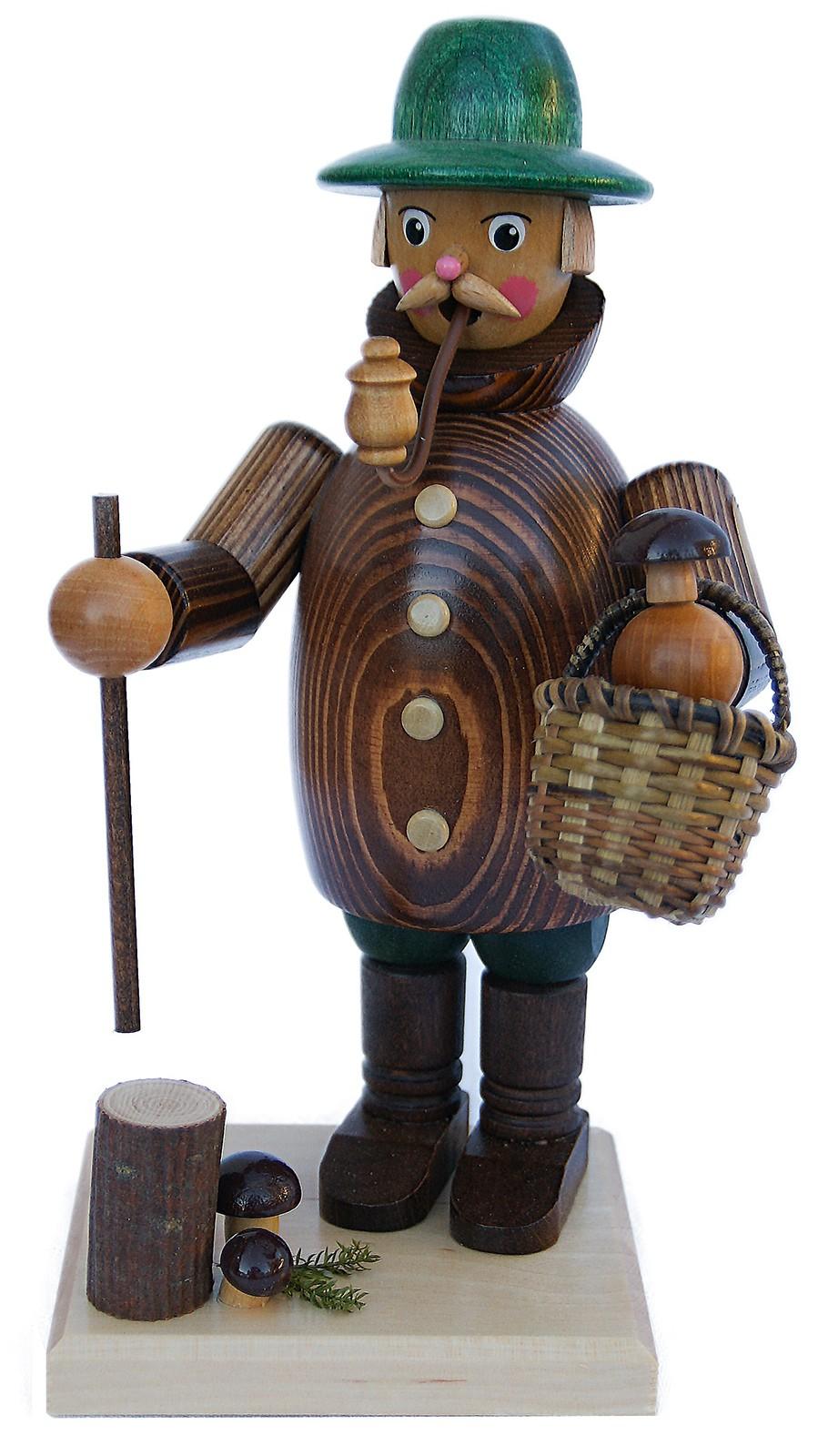 Räuchermann Pilzsucher, mit brauner Jacke