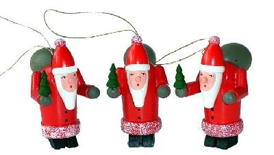 3 Stück Weihnachtsmänner, Baumbehang
