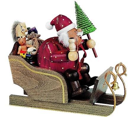 Räuchermännchen Weihnachtsmann im Schlitten, groß