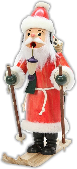 Räuchermann Weihnachtsmann auf Ski