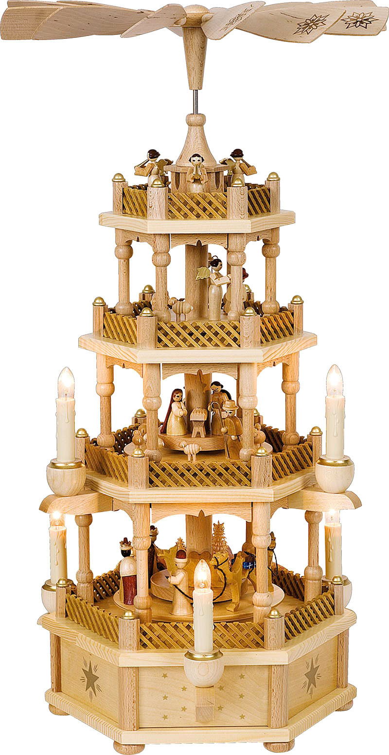 Weihnachtspyramide Christi Geburt, 3-stöckig, natur, elektrisch