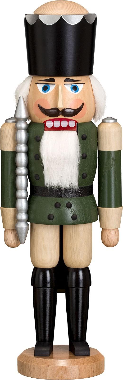 Nussknacker König, Esche lasiert, grün, 38 cm