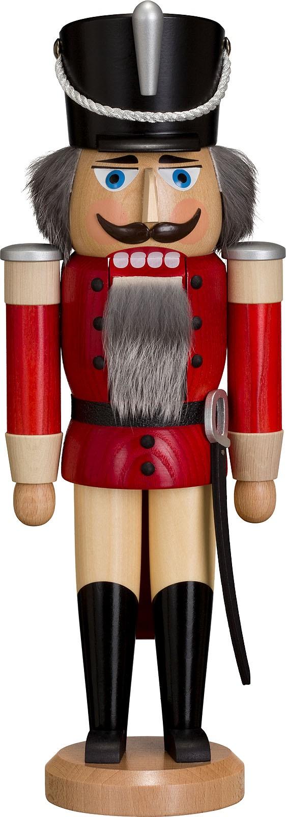 Nussknacker Husar, Esche lasiert, rot, 37 cm