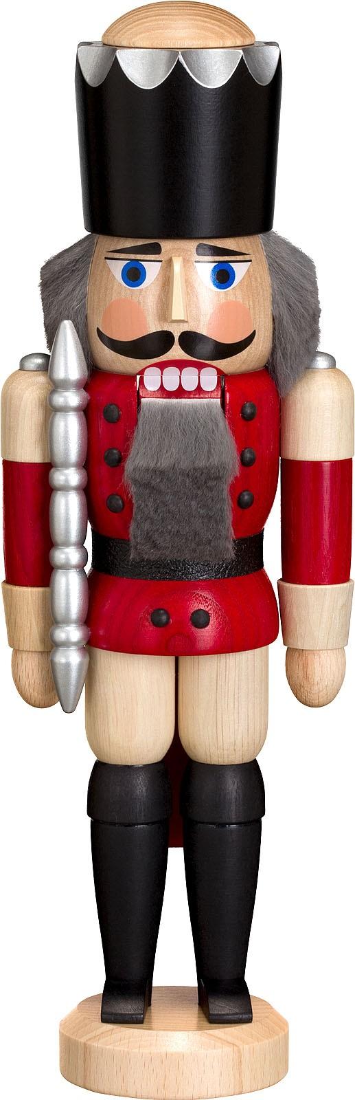 Nussknacker König, Esche lasiert, rot, 29 cm