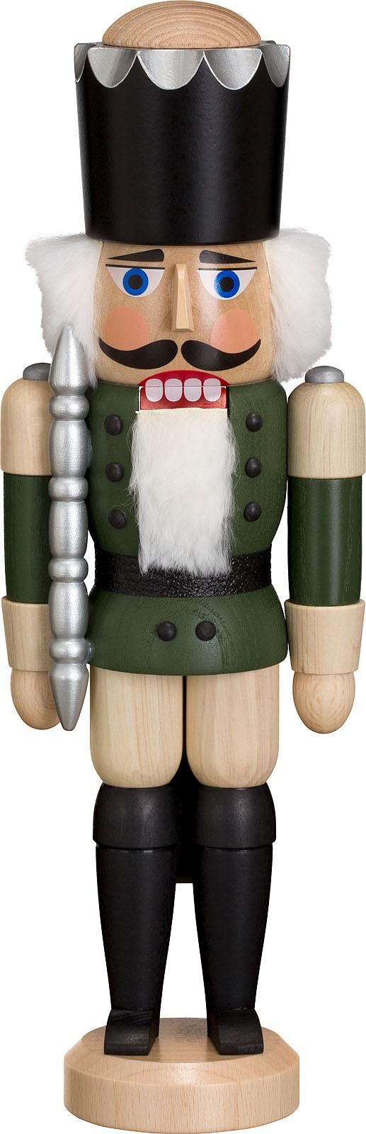 Nussknacker König, Esche lasiert, grün, 29 cm