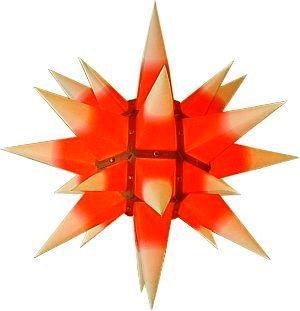 Original Herrnhuter Adventsstern I4 + I6 gelb mit rotem Kern