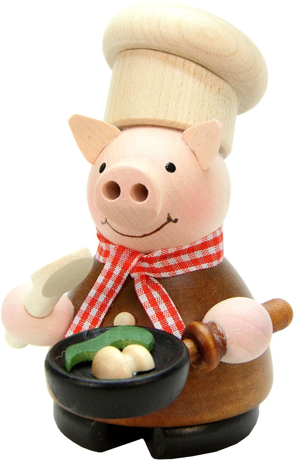 Räuchermann Glücksschweinchen Koch, natur