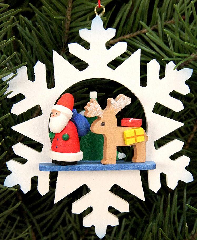 Baumbehang Schneeflocke - Weihnachtsmann mit Rentier