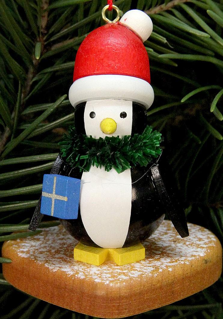 Baumbehang Pinguin auf Lebkuchenherz