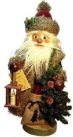 Nussknacker Weihnachtsmann mit Laterne, Weihachtsbaum und Geschenkesack