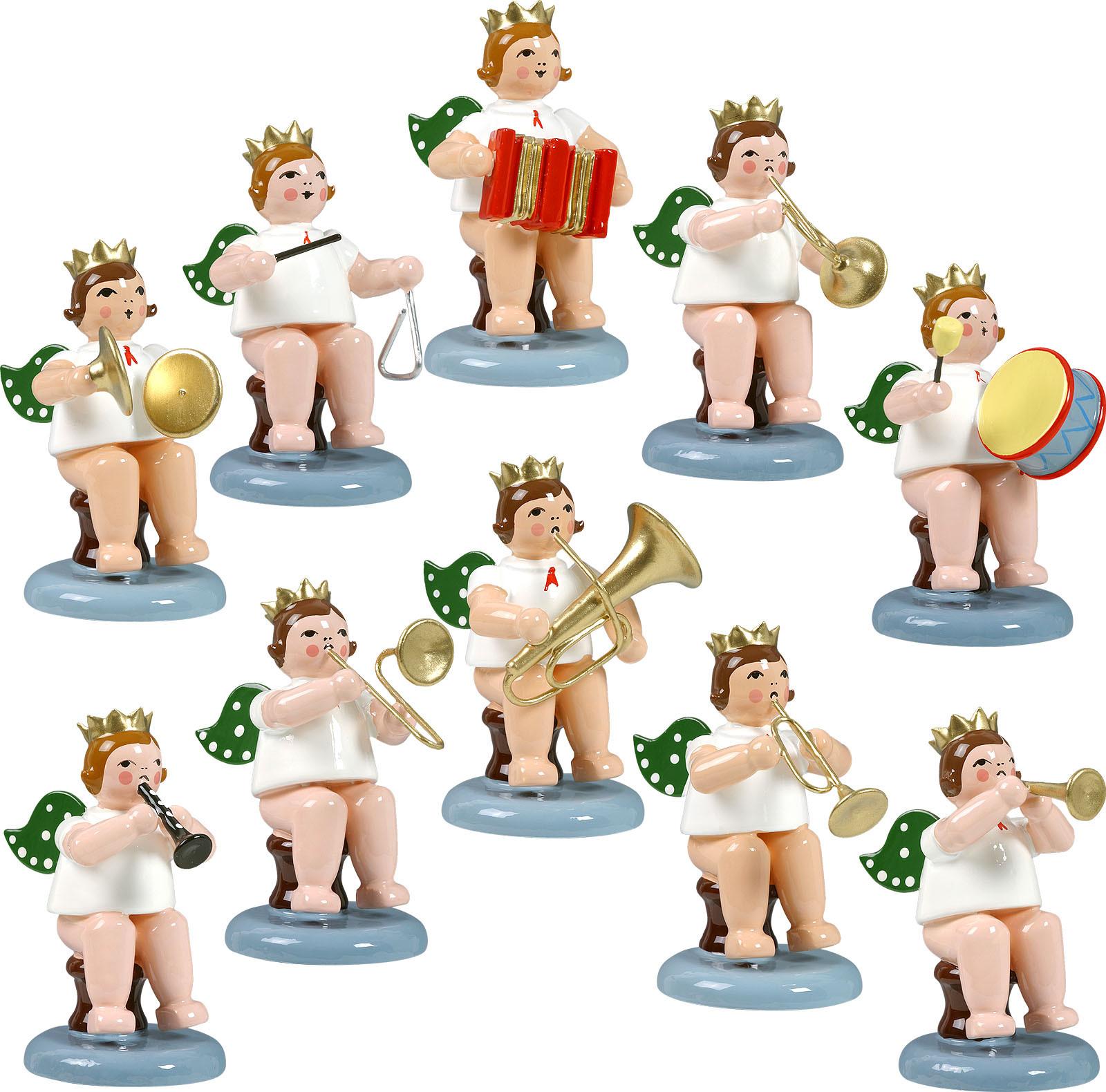 Engelmusikanten, sitzend, 10-teilig, Variante 1 - mit Krone