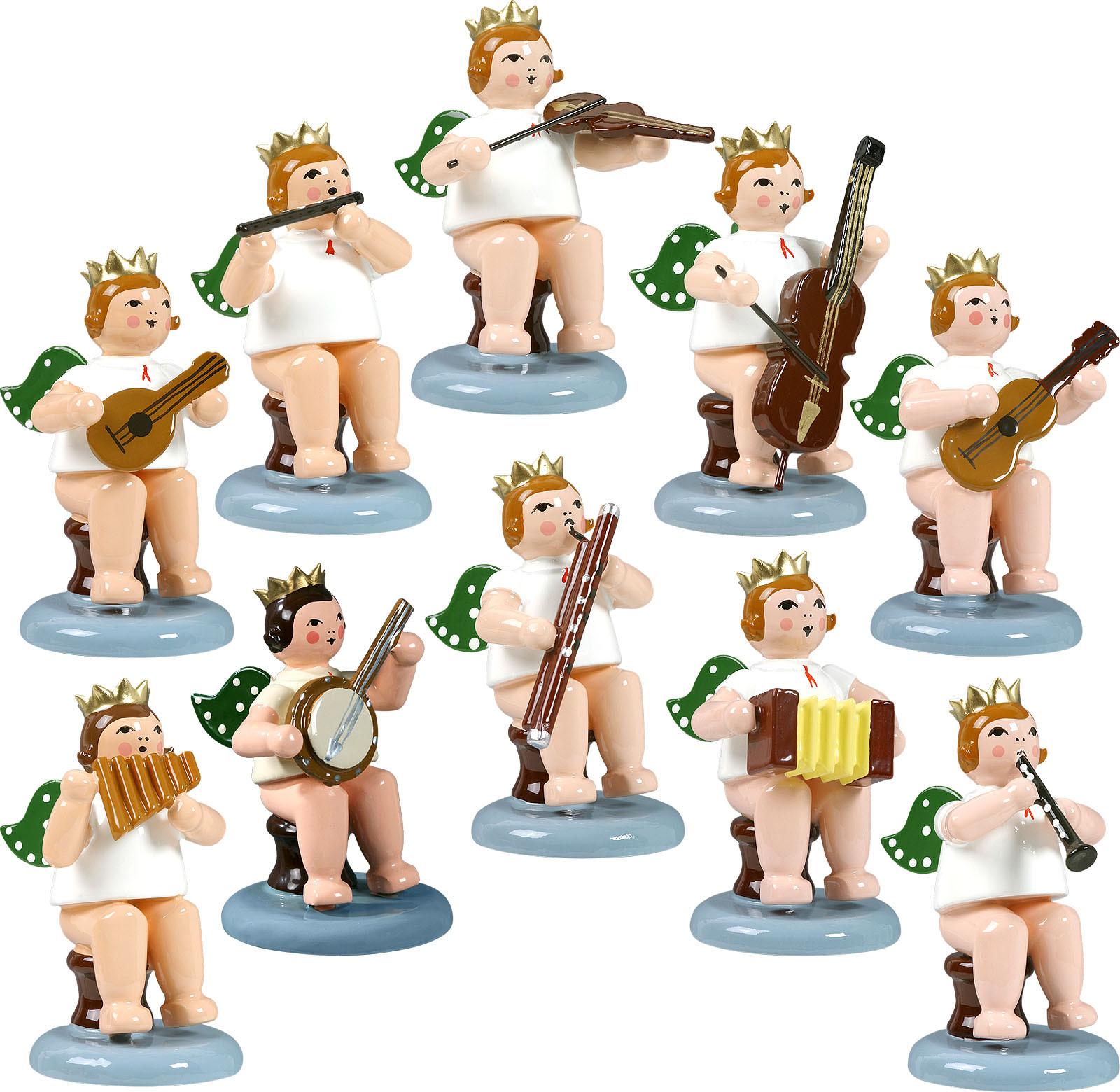 Engelmusikanten, sitzend, 10-teilig, Variante 2 - mit Krone