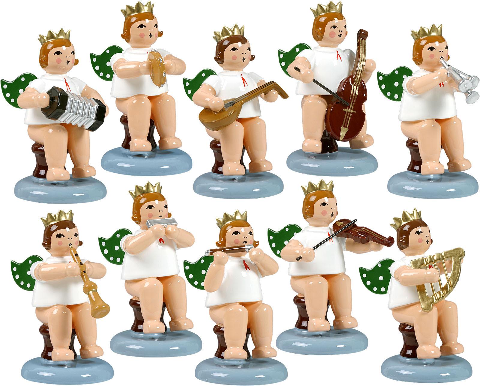 Engelmusikanten, sitzend, 10-teilig, Variante 3 - mit Krone