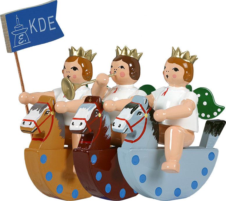 Engel auf Schaukelpferd, 3-teilig - mit Krone