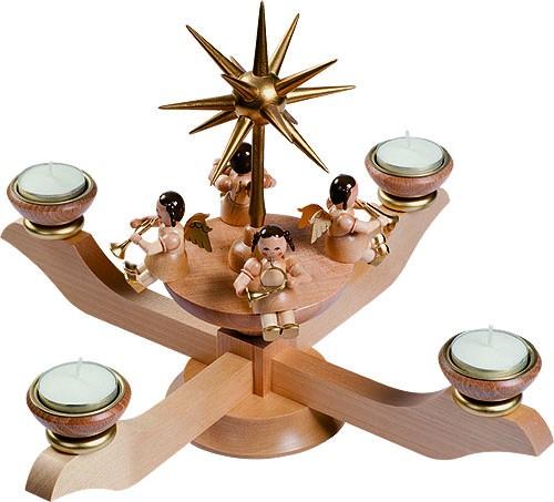 Adventsleuchter natur für Teelichte