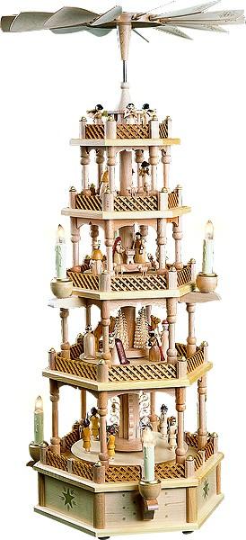 Weihnachtspyramide Christi Geburt, 4-stöckig, natur, elektrisch