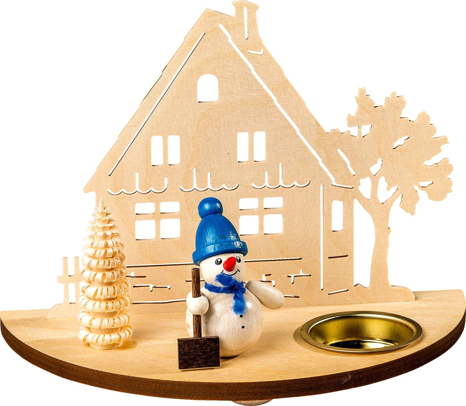 Teelichthalter Schneemann - Blau