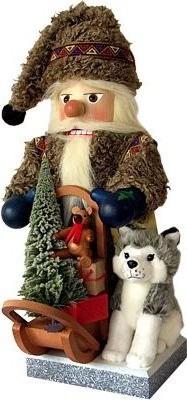 Nussknacker Nordpol Santa mit Schlittenhund und Geschenkeschlitten