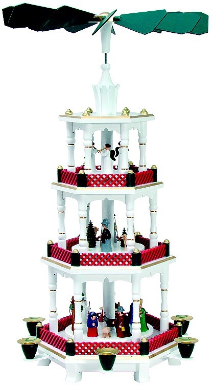 Weihnachtspyramide Geburt Engel, grün rot, Sonderanfertigung