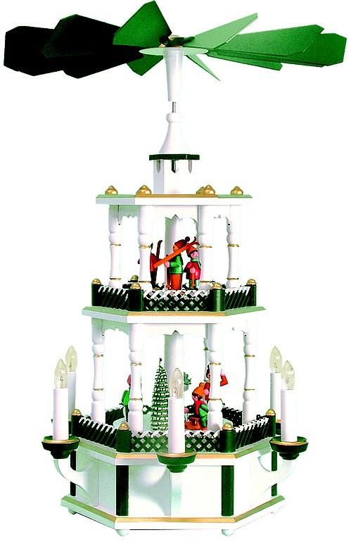 Weihnachtspyramide Winterkinder, weiß/grün, verschneiter Zaun