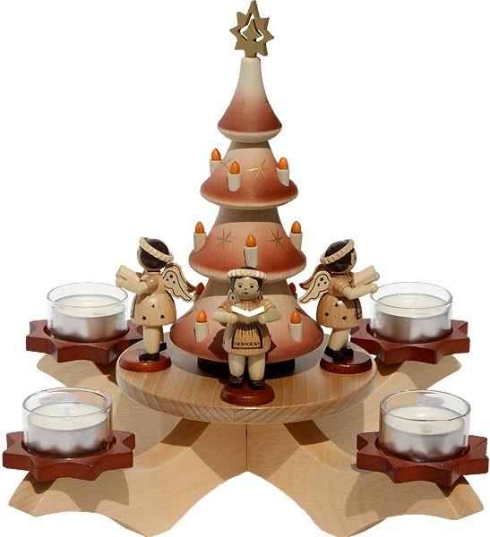 Adventsleuchter natur - Baum + 4 Engel